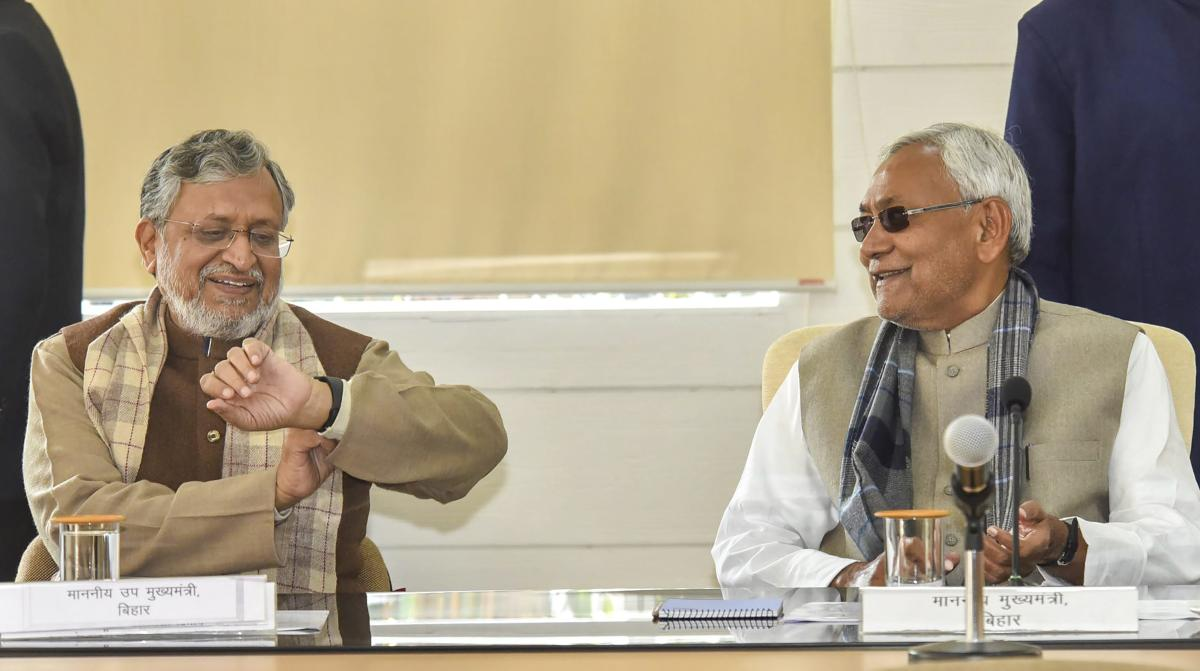 Bihar Chief Minister Nitish Kumar and Deputy CM Sushil Kumar Modi during the Lok Samvad programme at CM's residence, in Patna, Monday, Feb .04, 2019. (PTI Photo)