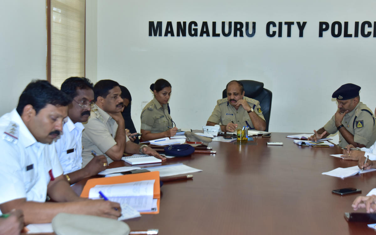 Mangaluru Commissioner of Police T R Suresh at the phone-in-programme organised at his office.