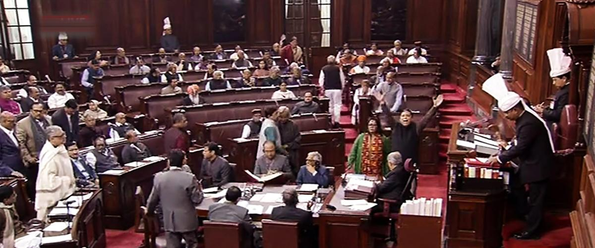 Opposition members protest in the Rajya Sabha during the Budget Session of Parliament, in New Delhi, Tuesday, Feb. 05, 2019. (RSTV grab via PTI)