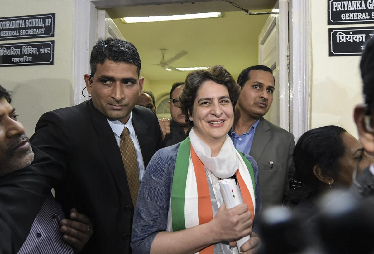 Congress General Secretary Priyanka Gandhi Vadra leaves after visiting her office for the first time following her appointment to the party post, at AICC headquarters in New Delhi. (PTI Photo)