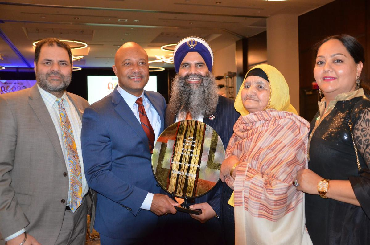 Indian-American Sikh Gurinder Singh Khalsa receives Rosa Parks Trailblazer award at a function in Indianapolis, Friday, January 18, 2019. (PTI Photo)