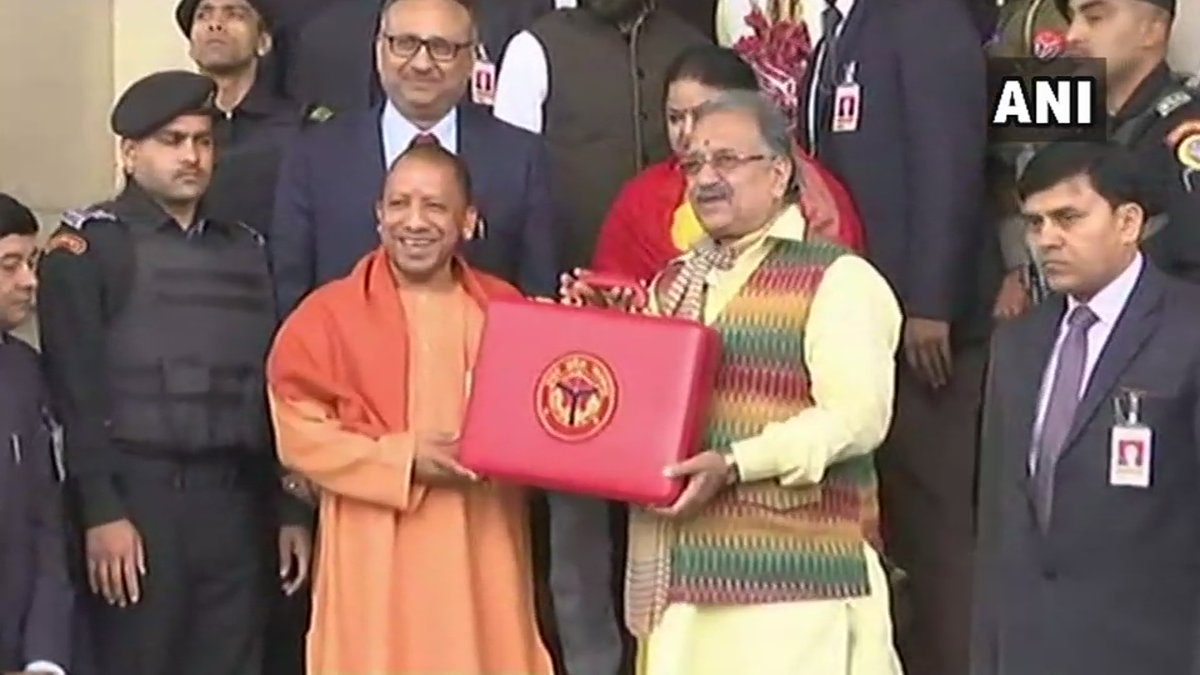 The annual budget presented by finance minister Rajesh Agarwal in state Assembly is 12 per cent higher than the 2018-19 budget of Rs 4,28,384.52 crore. (Image: ANI/Twitter)