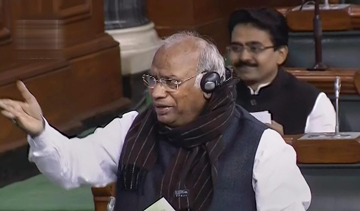Congress member Mallikarjun Kharge speaks in the Lok Sabha during the Budget Session of Parliament, in New Delhi, Thursday, Feb 7, 2019. (LSTV GRAB via PTI)