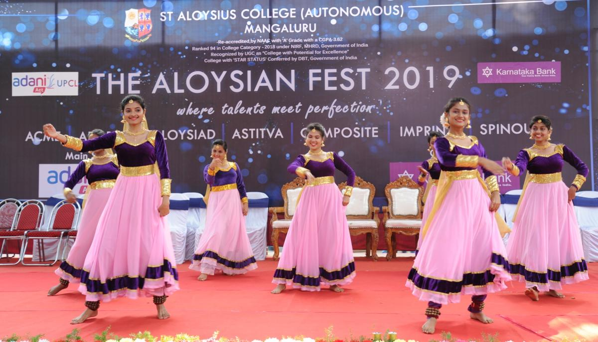 Students present a dance at the Aloysian Fest organised by St Aloysius College in Mangaluru.