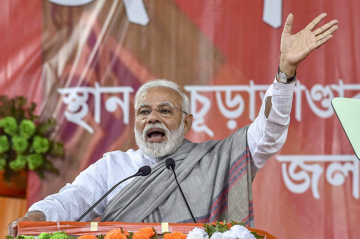 Prime Minister Narendra Modi addresses during 'Save Democracy' rally at Churabhandar, Maynagiri in Jalpaiguri district of West Bengal. PTI
