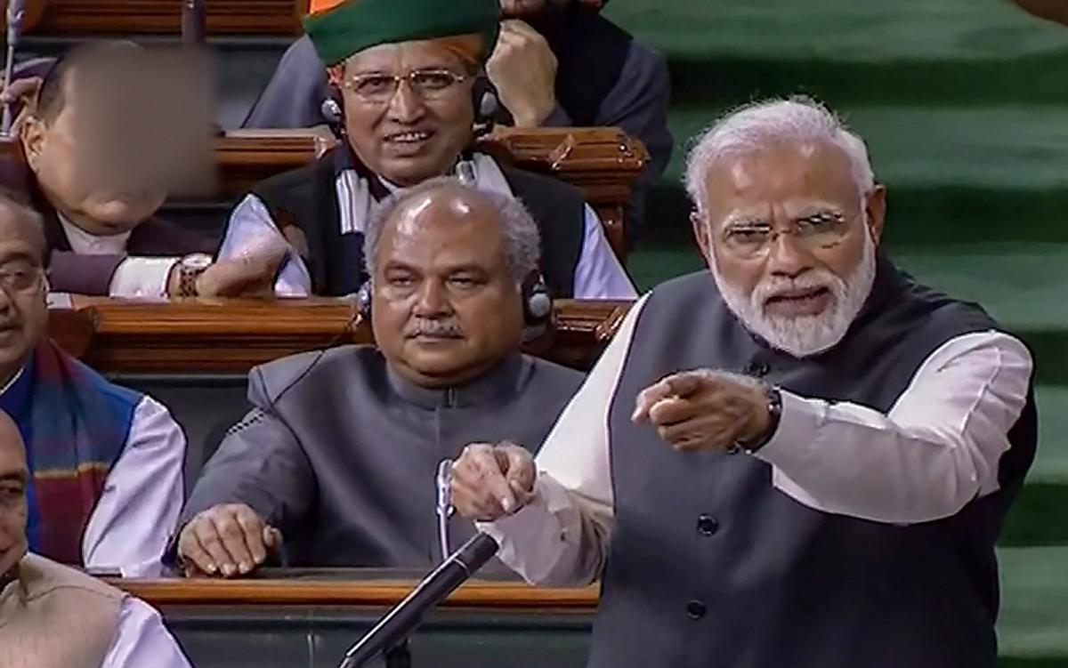 Prime Minister Narendra Modi addresses the Lok Sabha during the Budget Session of Parliament, in New Delhion Feb 7, 2019. PTI