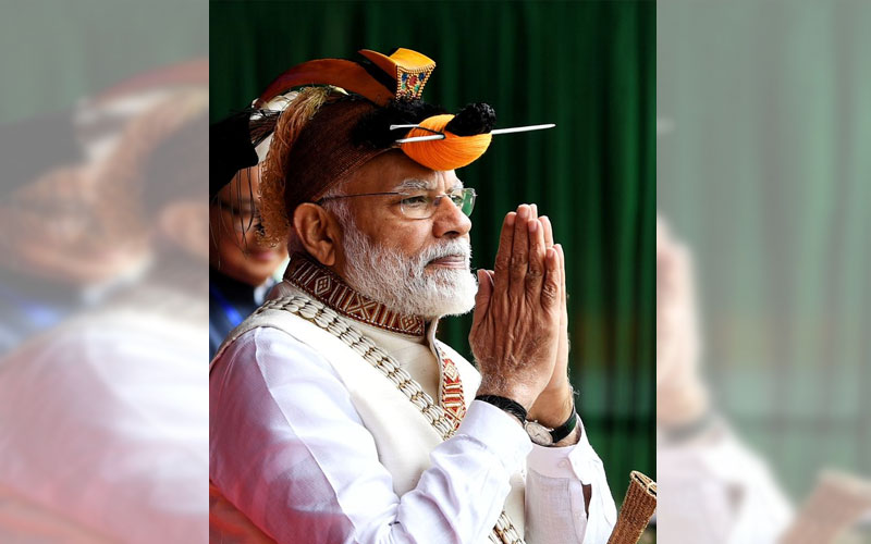 Prime minister Narendra Modi is greeting people Itanagar, Arunachal Pradesh on Saturday. (Twitter/@narendramodi)