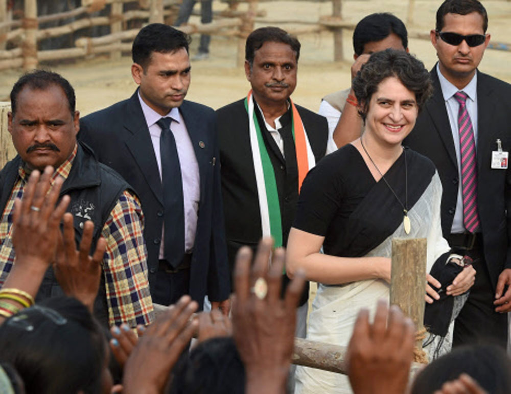 Priyanka, who was appointed AICC General Secretary last month and given the charge of eastern Uttar Pradesh, is visiting Lucknow along with AICC General Secretary Jyotiraditya Scindia and Congress President Rahul Gandhi. PTI file photo