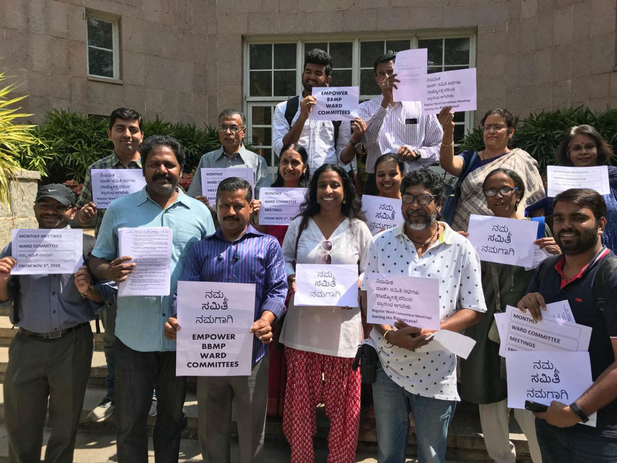 ara Krishnaswamy - Members of Citizens for Bengaluru demanded the BBMP officers to hold ward committee meetings regularly and involve the citizens also, along with the ward committee members at BBMP head office on Wednesday.