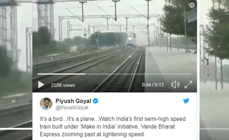 """The video shared by Goyal seems to be shot during a trial run. However, the """"lightening""""speed of the train in this video is a bit altered. Twitterati caught him red-handed for sharing apparently an edited version by fastening original video."""