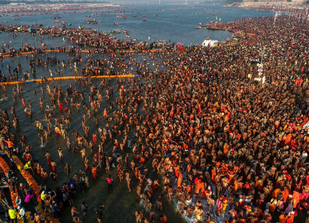 An aerial shot shows a sea of devotees gathered at Sangam to take a holy dip on the occasion of Basant Panchami festival during the Kumbh Mela 2019, in Prayagraj(Allahabad), Sunday, Feb 10, 2019. (PTI Photo)