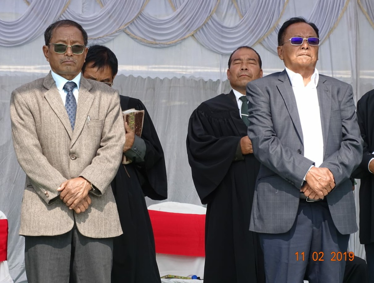 Qhehezu Tuccu and Tongmeth Wangnaoafter being elected as NSCN-IM chairman and vice-chairman at Hebron, Nagaland on Monday. DH Photo