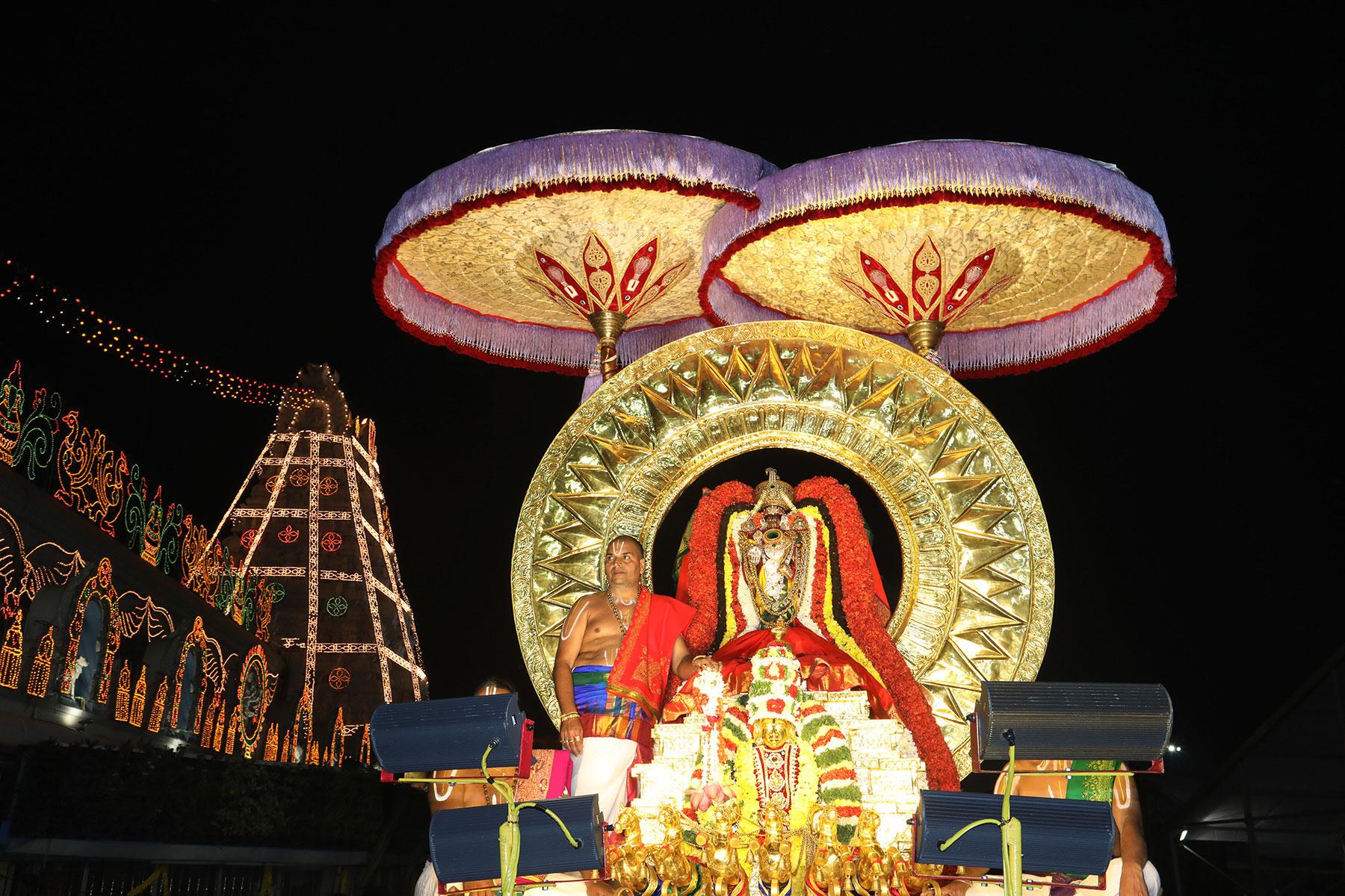 Surya prabha vahanam as a part of Radhasapthami in Tirumala on Tuesday