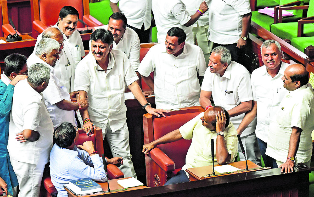 "As soon as the House met, a few ruling party members said Yeddyurappa should resign for trying to ""bribe"" Legislator Assembly Speaker K R Ramesh Kumar."