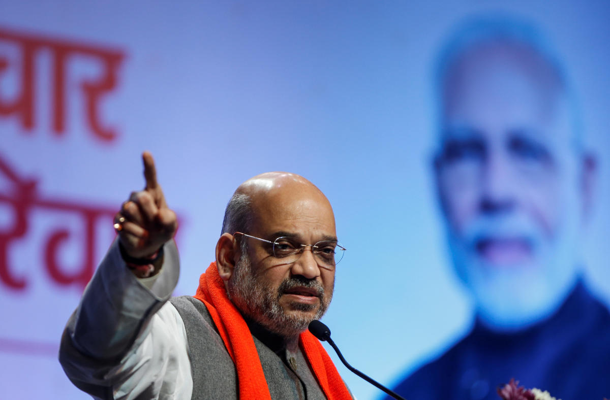 Amit Shah, president of India's ruling Bharatiya Janata Party (BJP) addresses party workers in Ahmedabad on Tuesday. (REUTERS)