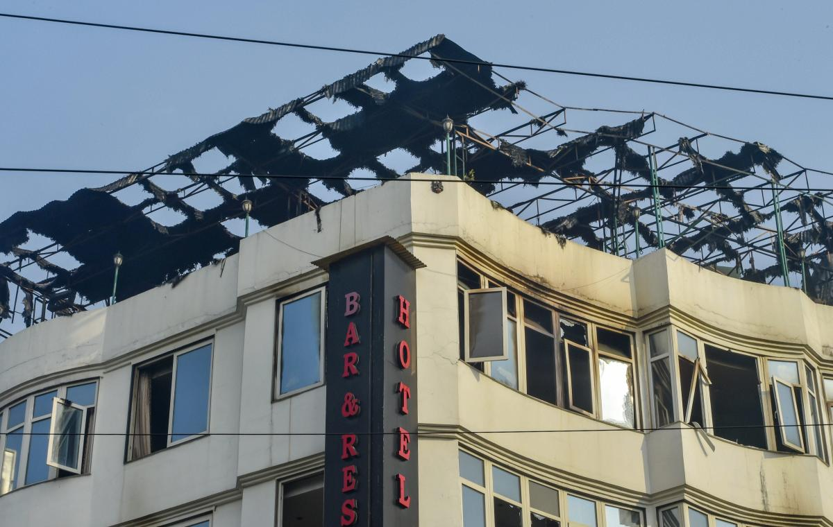 A view of charred remains on the rooftop of Karol Bagh's Hotel Arpit Palace where a massive fire broke out. PTI