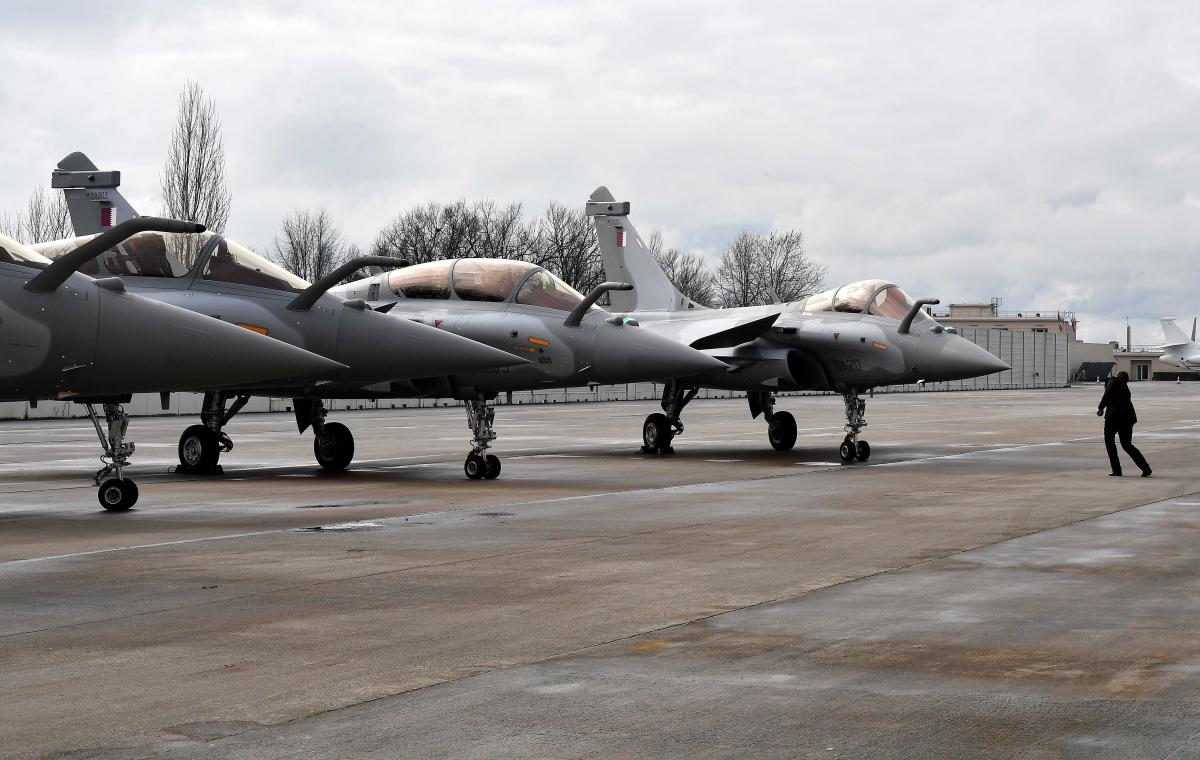Rafale jets with Qatar's colours during a ceremony for the delivery to Qatar of the first of 36 Rafale multi-purpose jet fighters from French manufacturer Dassault, on February 6, 2019, in Merignac, southwestern France. Qatar took delivery of the first of 36 Rafale multi-purpose jet fighters it has ordered from French manufacturer Dassault. Credit: AFP Photo/Georges Gobet