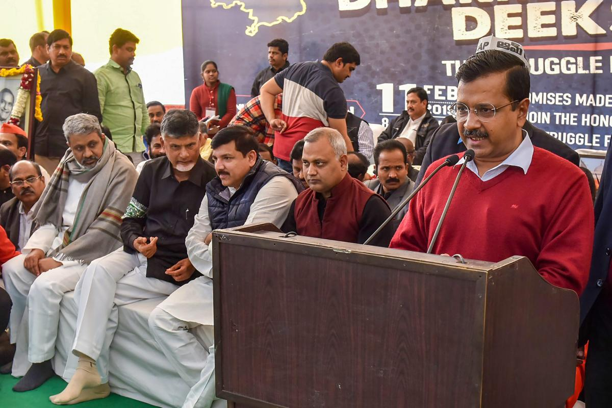 Delhi Chief Minister and AAP leader Arvind Kejriwal addresses during the day-long fast 'Dharma Porata Deeksha' demanding for the special status to the state of Andhra Pradesh, in New Delhi, Monday, Feb. 11, 2019. PTI Photo.