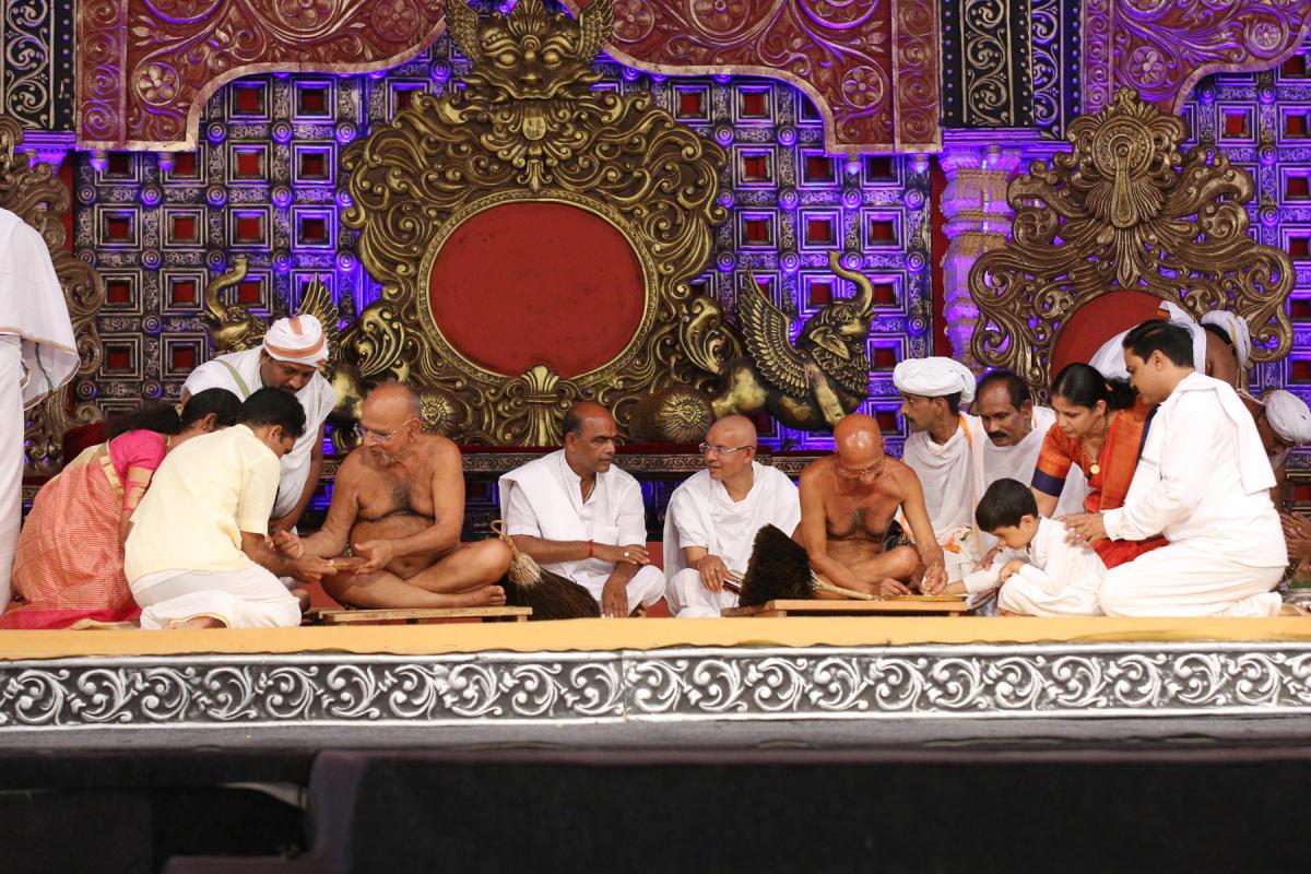 Acharya Sri Vardhamana Sagara Munimaharaja initiates Vrathopadesha at Dharmasthala on Tuesday.