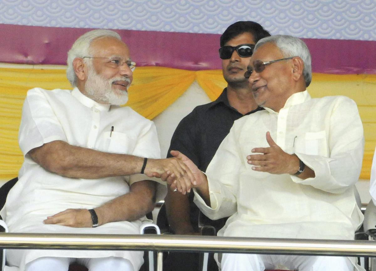 Though both of them have attended several government functions together, this will be the first time in the last ten years when Nitish and Modi will address an election rally together. PTI file photo