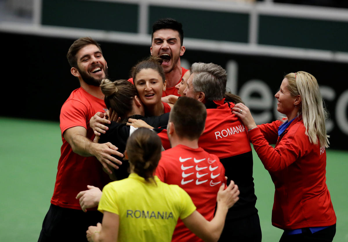 Romania Fed Cup team celebrate their win over Czech Republic in Ostrava on Sunday. REUTERS
