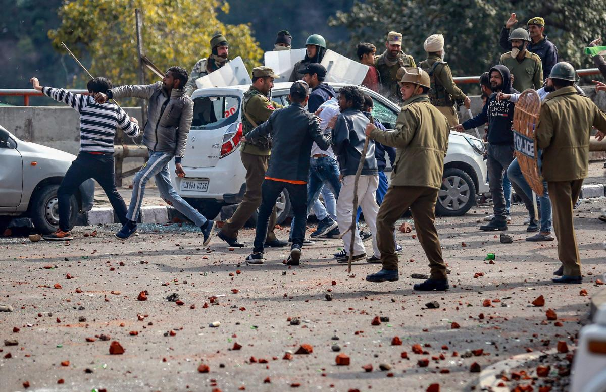 Protestors clash with police during a shutdown against the killing of CRPF personnel in the Pulwama terror attack, in Jammu. PTI