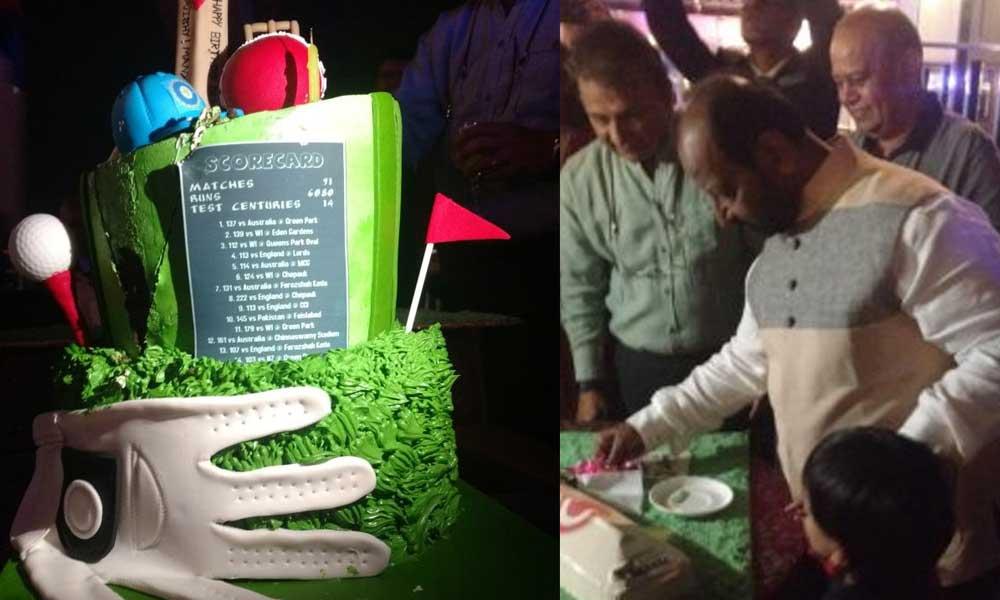 EVENING TO REMEMBER G R Viswanath cuts a bat-shaped cake to mark his 70th birthday as Sunil Gavaskar and former Karnataka batsman Raghunath Beerala look on in Bengaluru on Tuesday. DH Photos