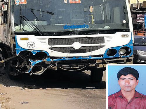 22-yr-old man killed on the spot as BMTC bus jumps median, rams bike