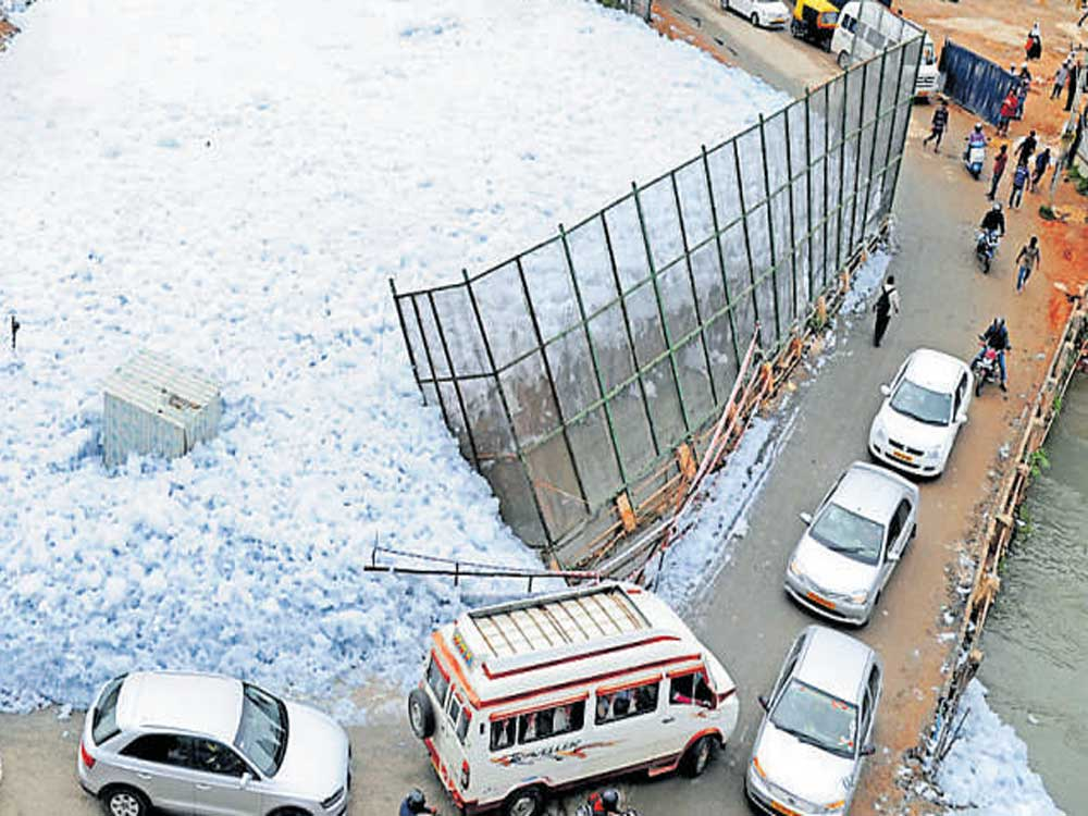 Bellandur Lake with frothing. DH file photo