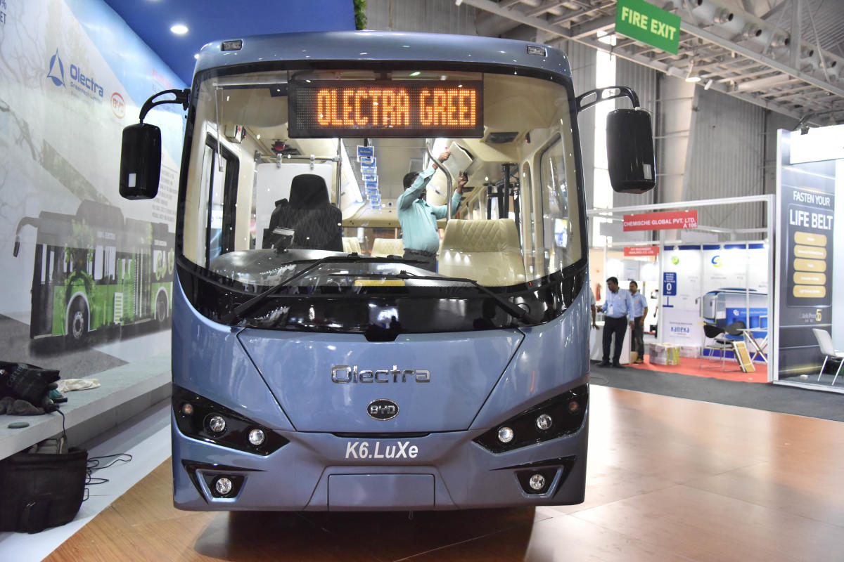Olectra K6.LUXe electric bus at the inauguration of busworld India Bengaluru 8th edition of b2b organised by busworld at BIEC in Bengaluru on Wednesday 29th August. Photo by Janardhan B K