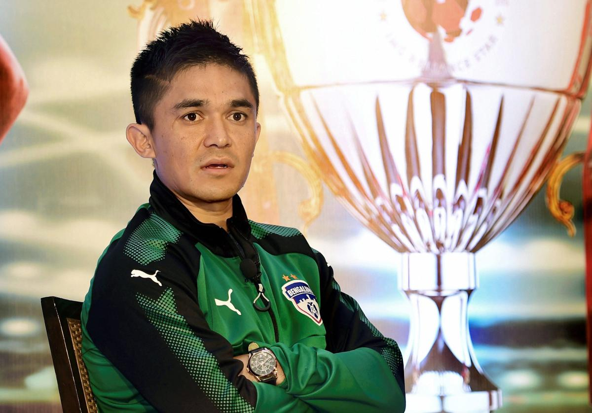The All India Football Federation (AIFF) is set to recommend Sunil Chhetri for the country's fourth highest civilian award -- the Padma Shri -- a huge recognition for the nation's all-time leading goal-scorer should he get the honour. PTI file photo