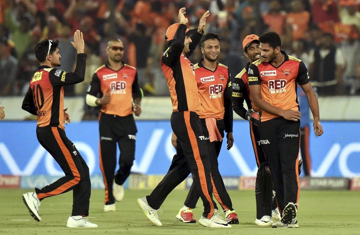 Jubilation: Sunrisers Hyderabad's Basil Thampi (first from right) celebrates with team-mates after dismissing Chris Gayle of Kings XI Punjab on Thursday. PTI