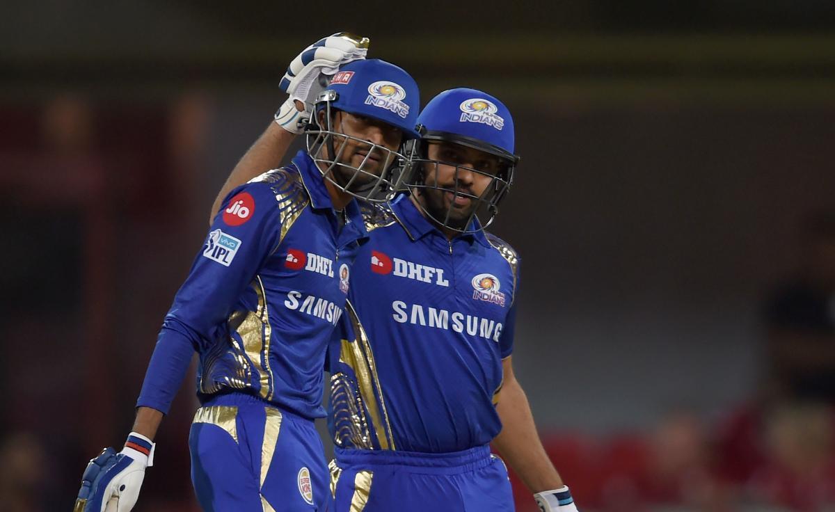 TWO GOOD: Mumbai Indians captain Rohit Sharma (right) and Krunal Pandya celebrate after beating Kings XI Punjab on Friday. AFP