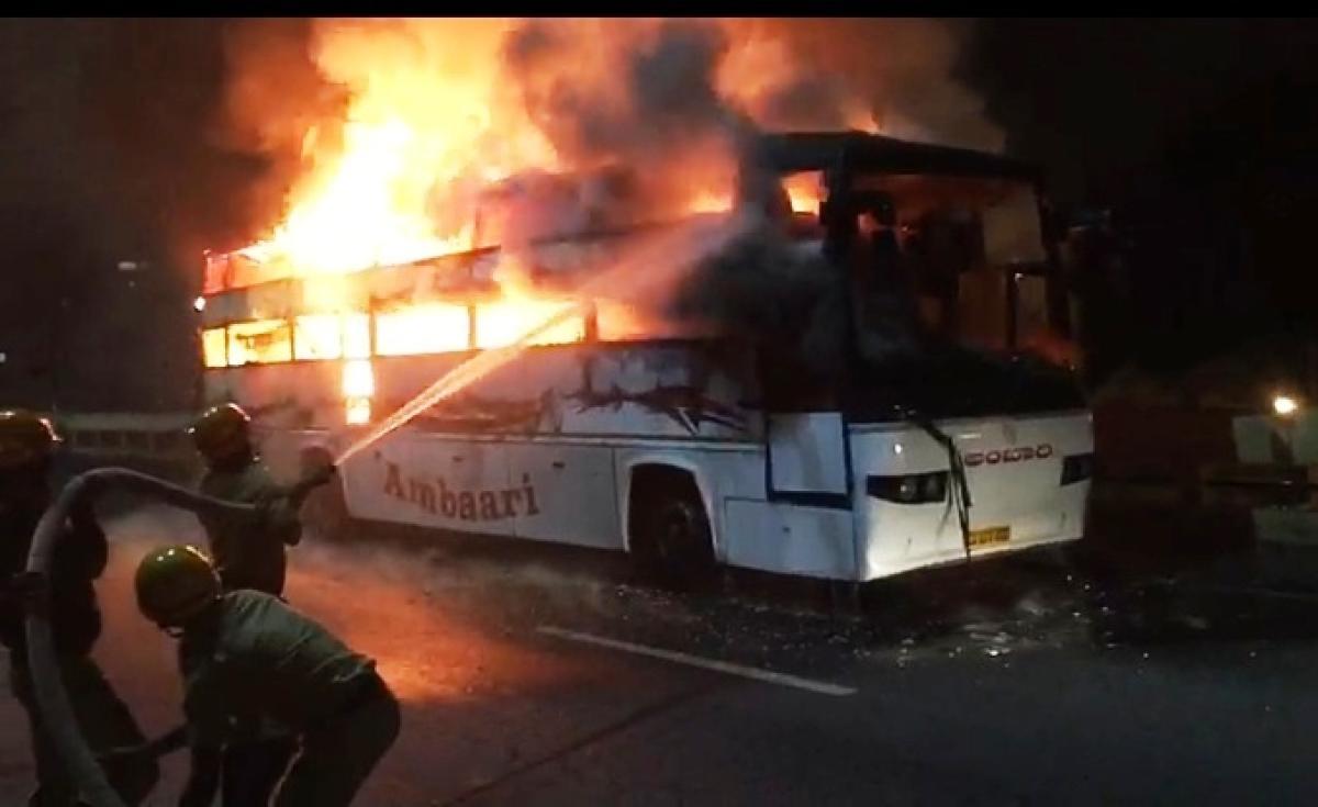 The Tirupati-Bengaluru KSRTC bus that caught fire on the hanging bridge in KR Puram early on Wednesday.