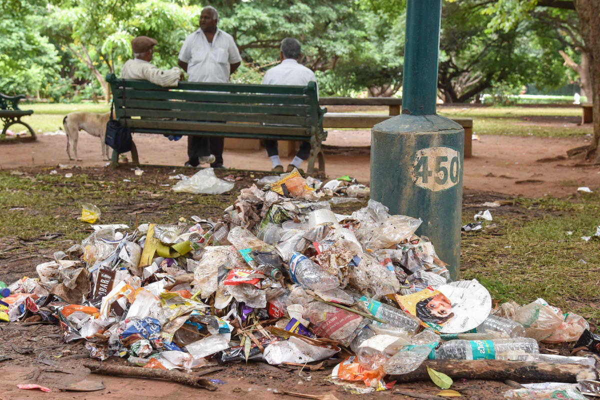 Garbage seen in Lalbagh after the Independence Day flower showThursday. Photo by S K Dinesh