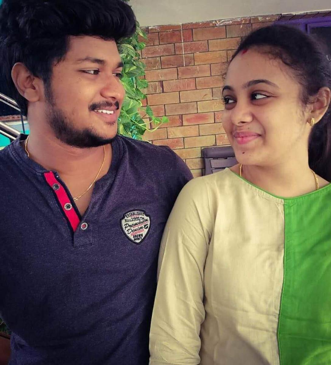 Pranay Kumar with wife Amrutha Varshini. file photo