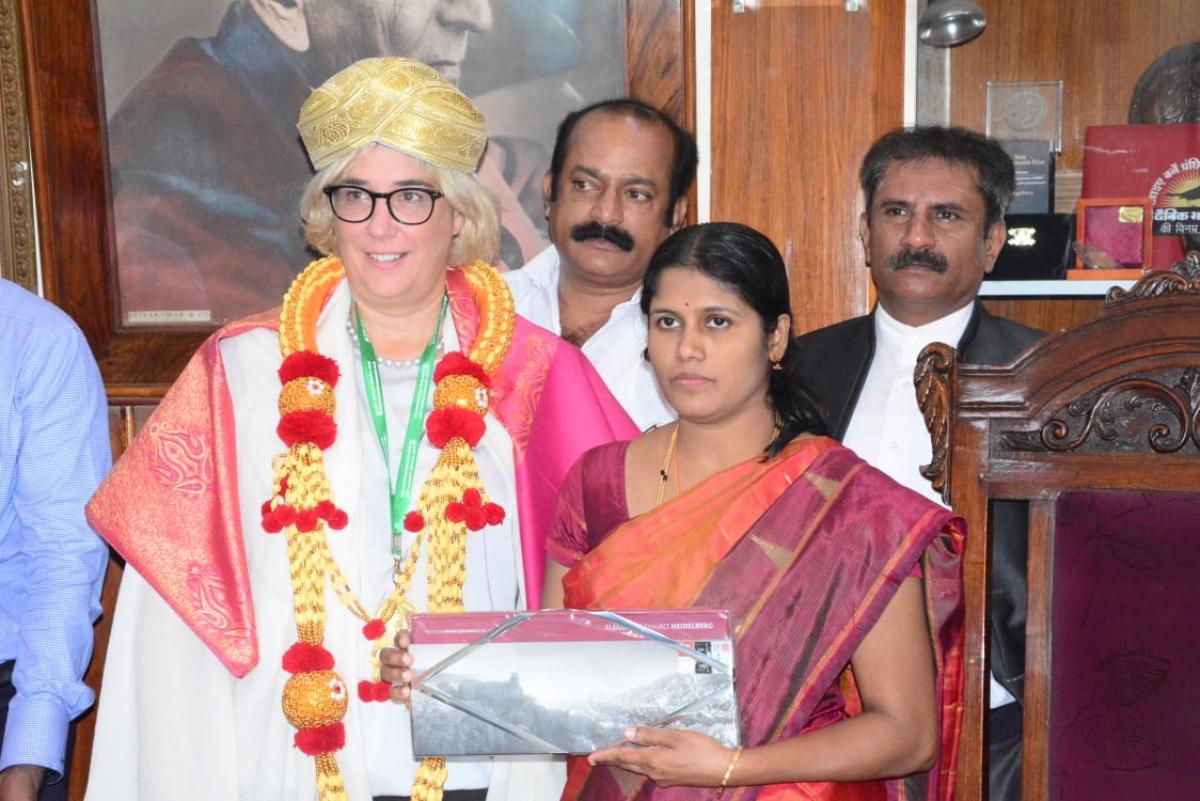 City Mayor Gangambike Mallikarjun with Nicole Huber, deputy mayor of Heidelberg in southwestern Germany.