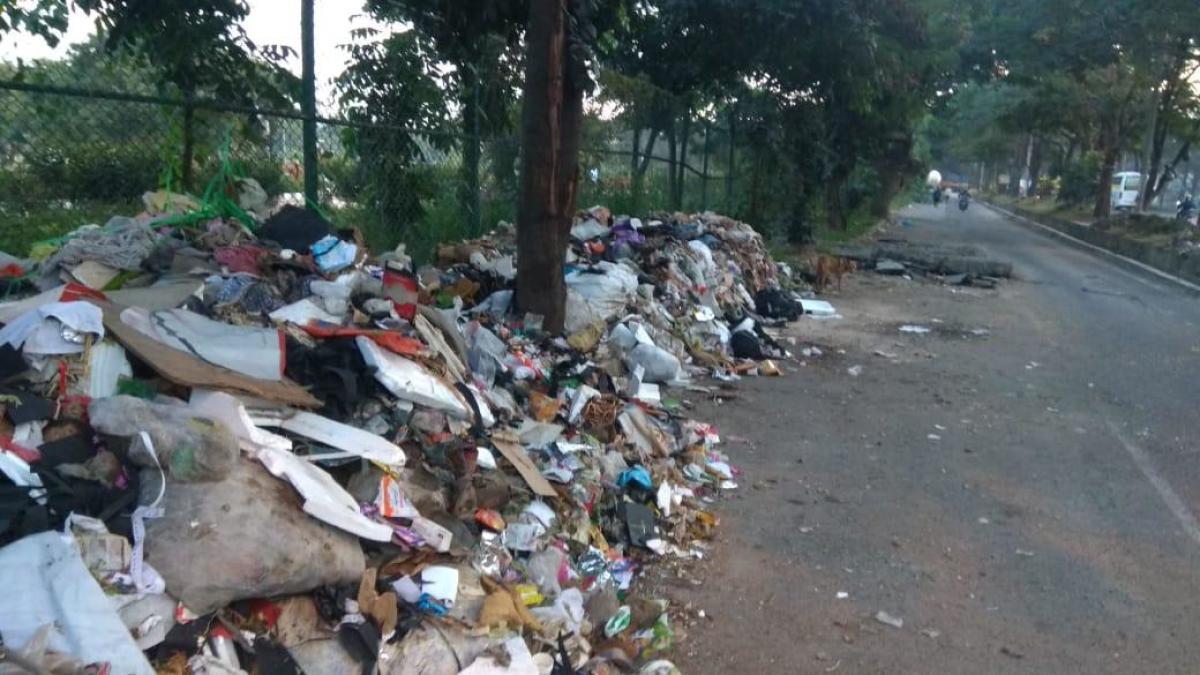 Garbage dumped near Agara Lake, HSR Layout on Tuesday.