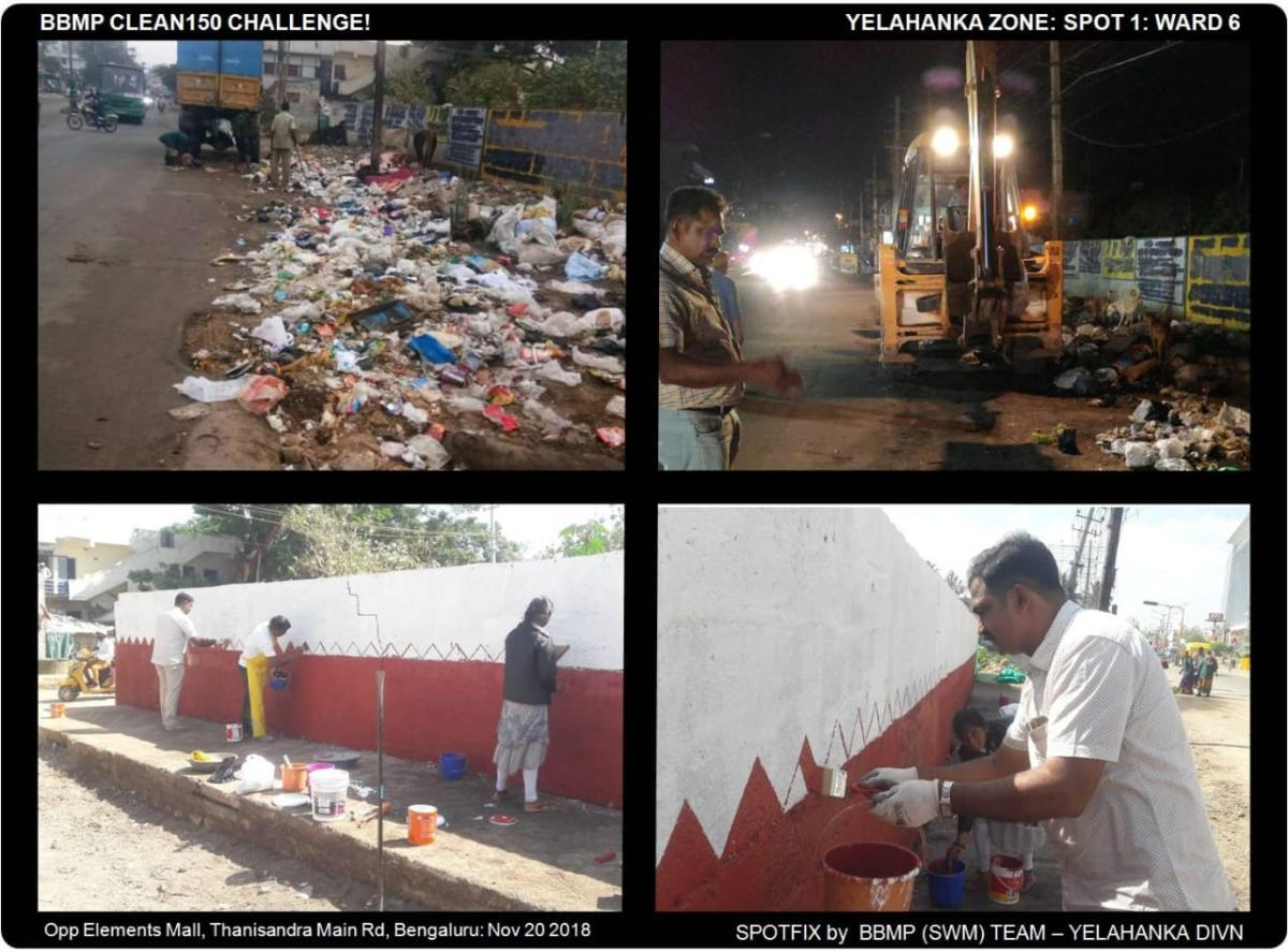 The Ugly Indian group teamed up with BBMP officials, Yelahanka zone, and pourakarmikas to clean up a garbage spot opposite Elements Mall in Thanisandra Main Road on Tuesday.