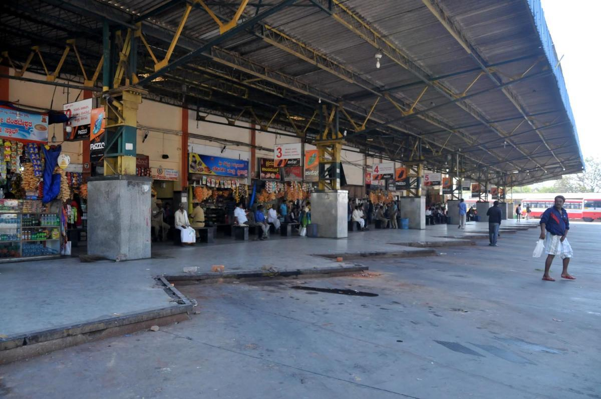 A view of the deserted platforms at the KSRTC bus stand in town.