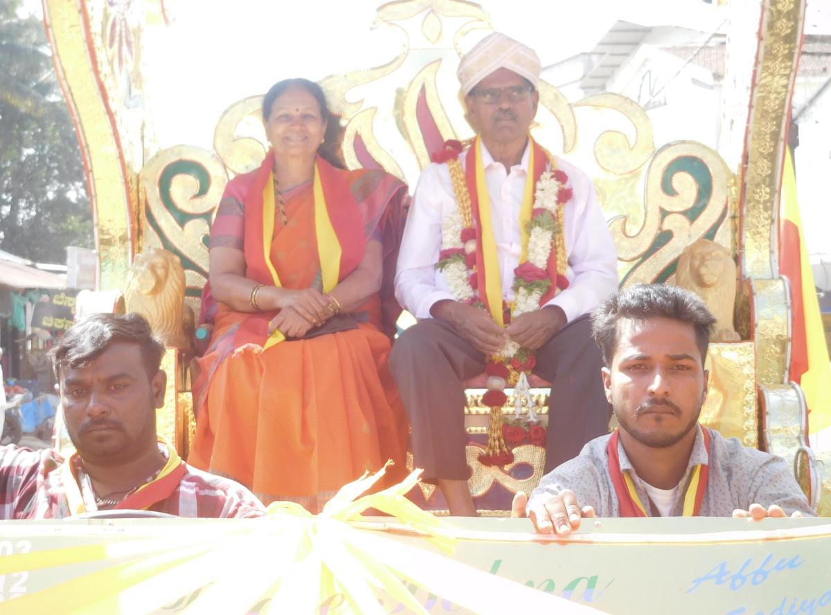 Zilla Kannada Sahitya Sammelana president Dr D S Jayappa Gowda being taken out in a procession before the inauguration of the Sammelana.