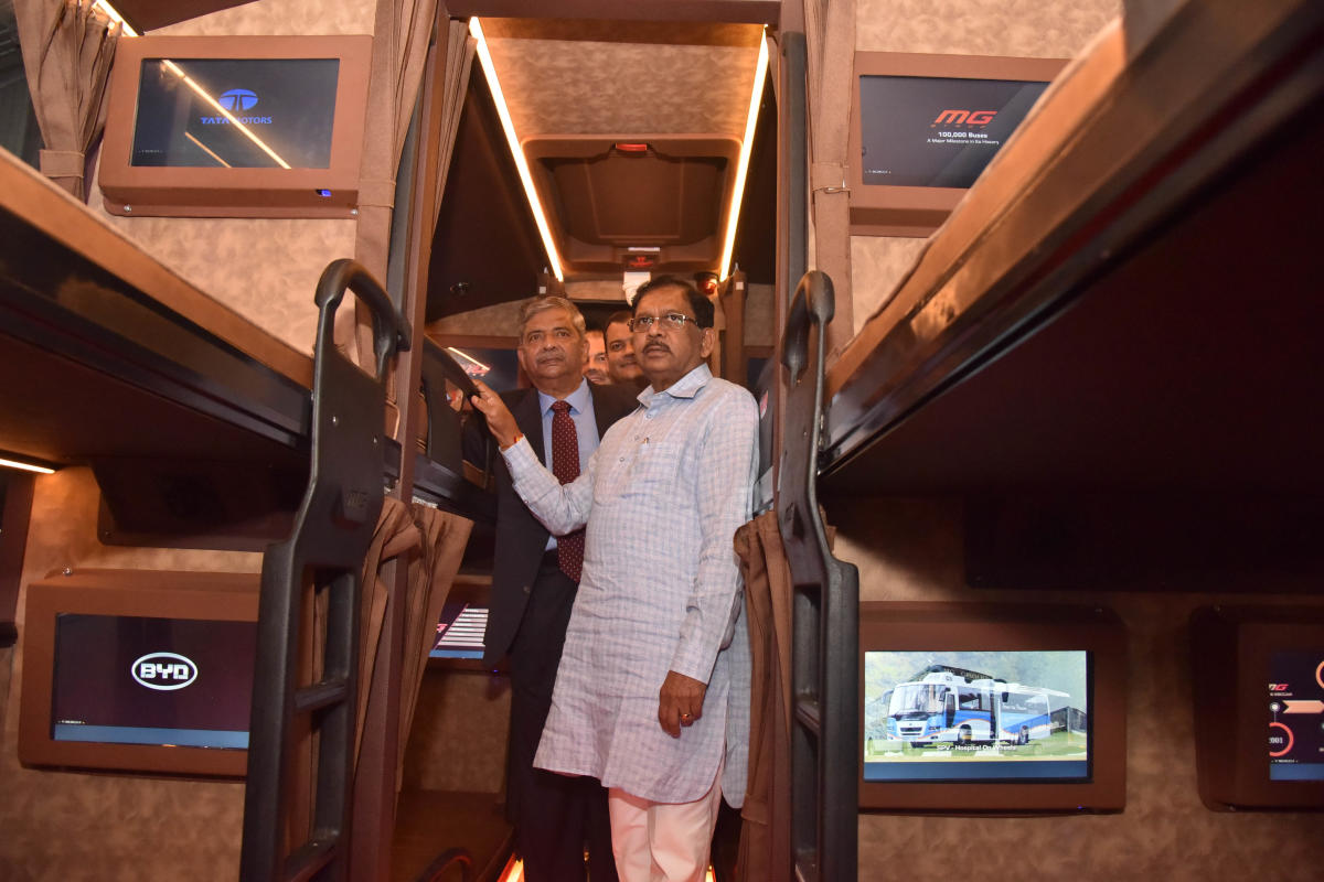 Deputy Chief Minister G Parameshwara looks at the interiors of a Bharat Benz bus after the inauguration of the 8th edition of Busworld India on Wednesday. DH Photo/Janardhan B K