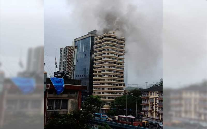 Fire breaks out Crystal Tower in the Dadar-Parel area of central Mumbai.