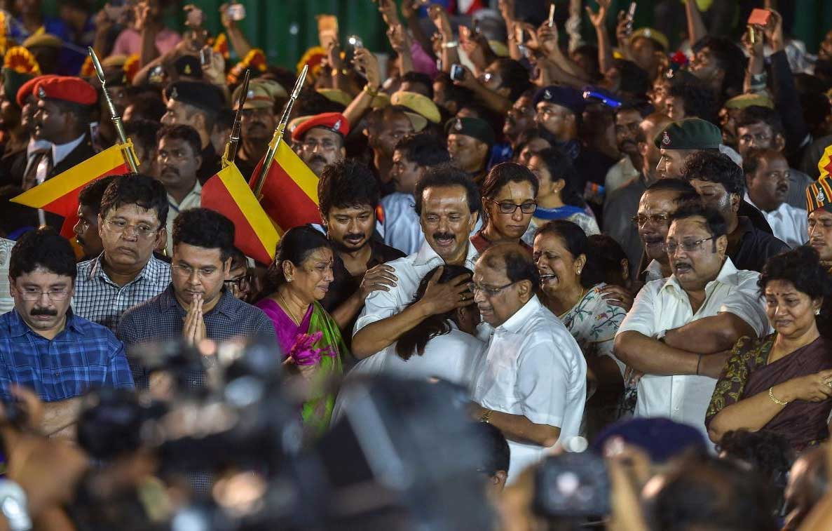 DMK working president MK Stalin with family members during DMK chief M Karunanidhi's funeral ceremony at Anna Memorial, in Chennai on Wednesday. PTI Photo
