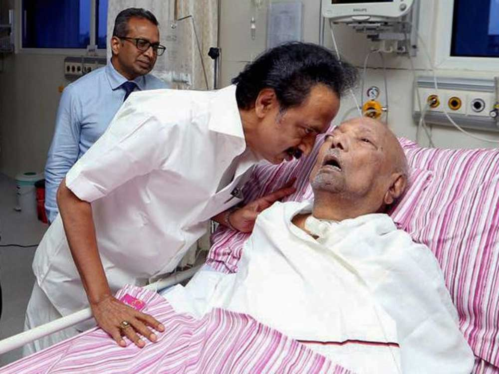 Doctors said Karunanidhi, who was rushed to the hospital in the wee hours of Saturday last due to drop in his blood pressure, continues to be in the Intensive Care Unit. PTI file photo