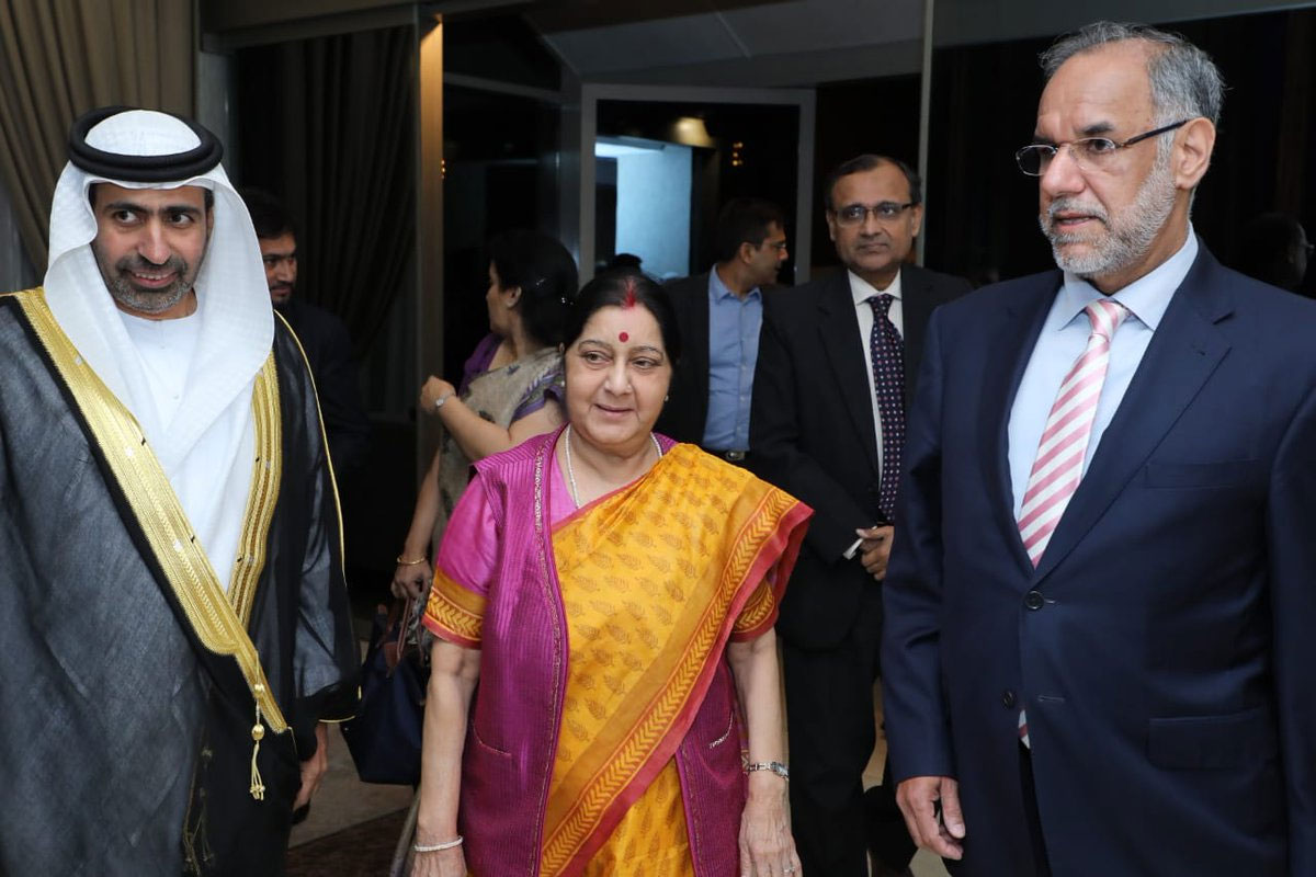 External Affairs Minister Sushma Swaraj is in Abu Dhabi to attend the foreign ministers' meet of the Organisation of Islamic Cooperation (OIC) states where she is expected to raise the issue of terrorism, amidst Indo-Pak tensions following the Pulwama terror attack. picture courtesy @DDNewsLive