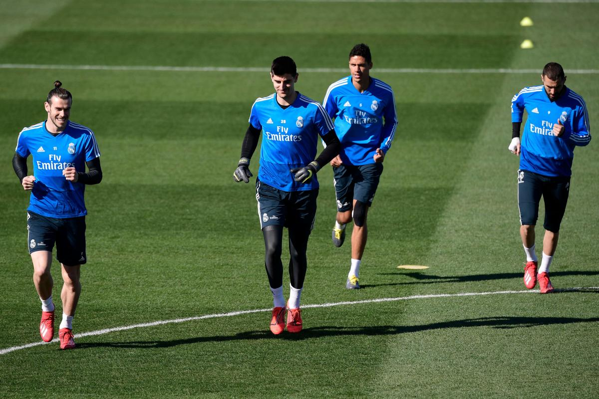 TOUGH TASK Real Madrid forward Gareth Bale (from left), goalkeeper Thibaut Courtois, defender Raphael Varane and forward Karim Benzema during a training session in Madrid on Friday. AFP