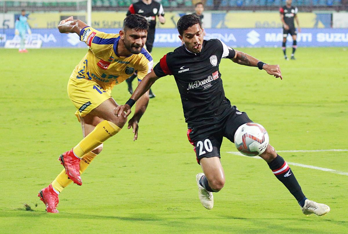 A slice of action from the Kerala Blasters FC and North East United FC ISL game in Kochi on Friday. PTI