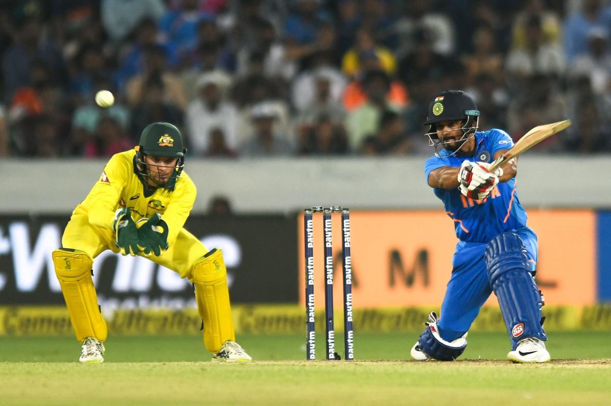 MERCURIAL: India's Kedar Jadhav slams one to the fence en route his unbeaten 81 in the first ODI against Australia at the Rajiv Gandhi International stadium in Hyderabad on Saturday. AFP