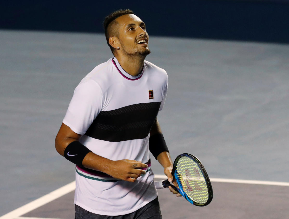 ON SONG Australia's Nick Kyrgios celebrates after winning his semifinal match against John Isner of the U S at the Acapulco International in Mexico on Friday. Reuters
